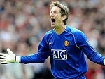 Calling it a day. Manchester United goalkeeper Edwin van der Sar is in his last season at Old Trafford.